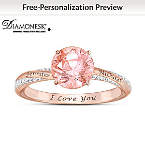 """Blush Of Romance"" Personalized Diamonesk Ring"