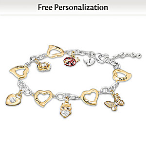 """I Wish You"" Personalized Charm Bracelet For Granddaughters"