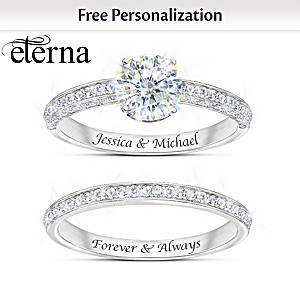 Personalized Diamonesk Bridal Ring Set With Eterna Stone