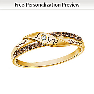 """Sweetest Love"" Diamond Ring Personalized With 2 Names"