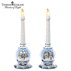 Thomas Kinkade Illuminating Holiday Snowglobe Candleholders