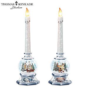 Thomas Kinkade Holiday Snowglobe Flameless Candle Set