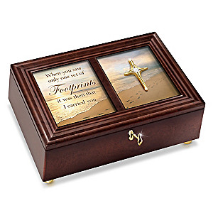 """""""Footprints In The Sand"""" Heirloom Music Box With Poem Card"""