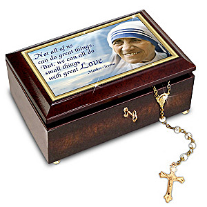 """""""Blessed Mother Teresa"""" Commemorative Music Box And Rosary"""