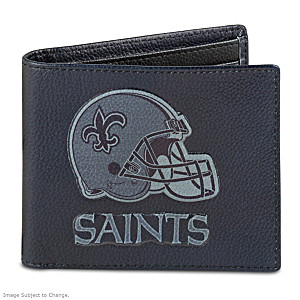 New Orleans Saints RFID Blocking Leather Wallet