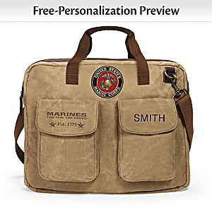 USMC Personalized Canvas Messenger Tote Bag With Name