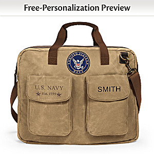 U.S. Navy Personalized Canvas Messenger Tote Bag With Name