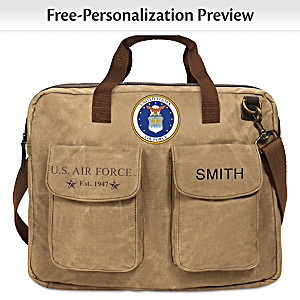 U.S. Air Force Personalized Canvas Messenger Tote Bag