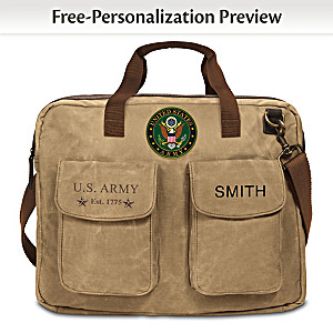 U.S. Army Personalized Canvas Messenger Tote Bag With Name