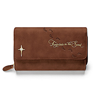 """""""Footprints In The Sand"""" Trifold Wallet With Cross Charm"""