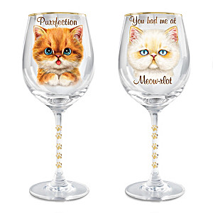 "Kayomi Harai ""Paws-itvely Purrfect"" Cat Wine Glass Set"