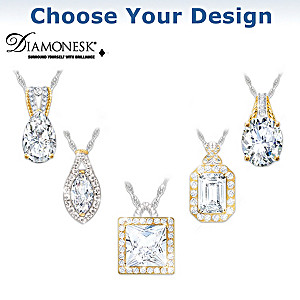 """""""Touch Of Gold"""" Diamonesk Necklace: Choice Of 5 Designs"""