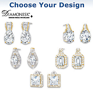 """Touch Of Gold"" Diamonesk Earrings: Choice Of 5 Designs"