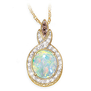 """Queen of Gems"" Ethiopian Opal And Diamond Pendant Necklace"
