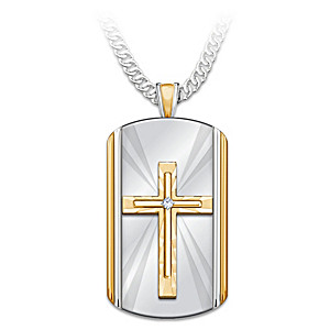"""Always With You"" Dog Tag Cross Pendant Necklace For Son"