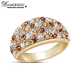 """Wild Beauty"" 18K Gold-Plated Diamonesk Dome Ring"