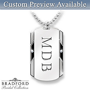 Personalized Men's Pendant Necklace With Two Diamonds
