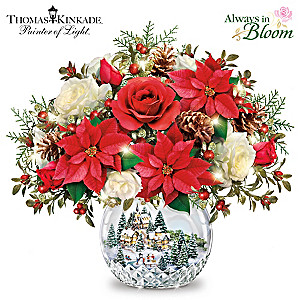 "Thomas Kinkade ""All Is Bright"" Lighted Musical Centerpiece"
