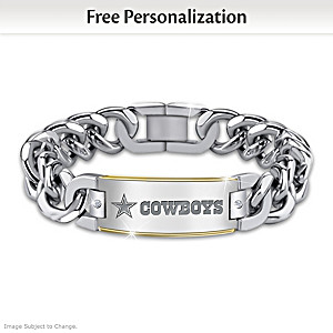 Dallas Cowboys Personalized Diamond ID Bracelet