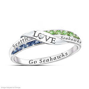"""Go Seahawks"" Diamond Ring With Team Colored Crystals"