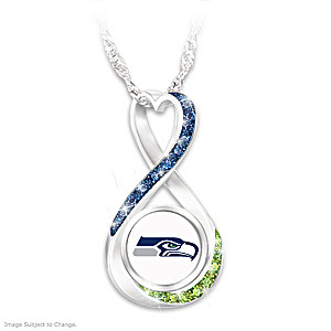 """Seattle Seahawks Forever"" Infinity Pendant Necklace"