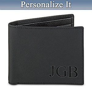 Personalized RFID Blocking Leather Wallet For Grandson
