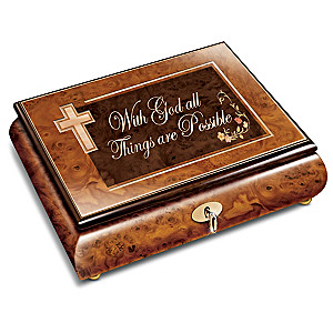 """""""With God All Things Are Possible"""" Inlaid Wood Music Box"""