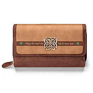 """Irish Blessing"" Trifold Wallet With Celtic Knot Charm"