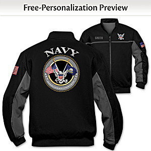"""Navy Salute"" Bomber-Style Jacket With Embroidered Name"