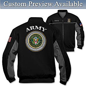 """Army Salute"" Bomber-Style Jacket With Embroidered Name"