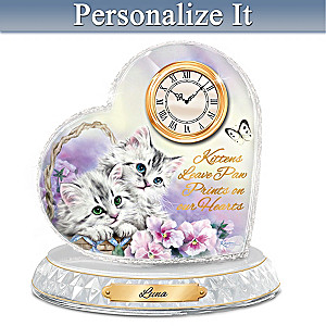 Kayomi Harai Kitten Sweethearts Clock With Your Cat's Name