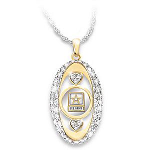 "U.S. ""Army Pride"" Swarovski Crystal Pendant Necklace"