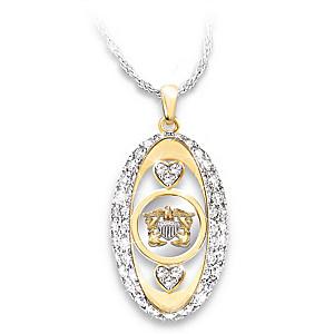 """Navy Pride"" Swarovski Crystal Pendant Necklace"