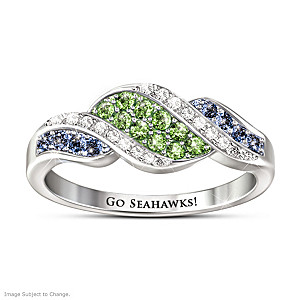 """Go Seahawks"" Ring With Team Colored Crystals"
