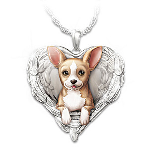 """Chihuahuas Are Angels"" Enameled Sculpted Necklace"