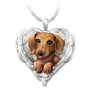 """Dachshunds Are Angels"" Enameled Sculpted Necklace"