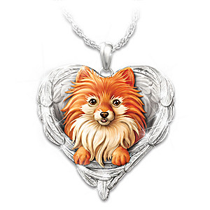 """Pomeranians Are Angels"" Enameled Sculpted Necklace"
