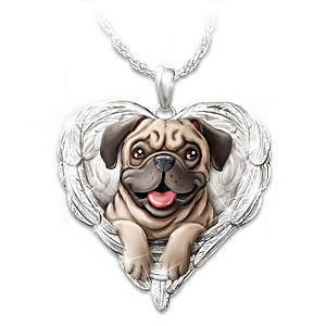"""Pugs Are Angels"" Enameled Sculpted Necklace"