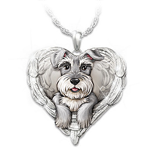 """Schnauzers Are Angels"" Enameled Sculpted Necklace"