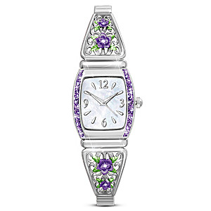 """Midnight Rose"" Women's Watch With Mother-Of-Pearl Face"