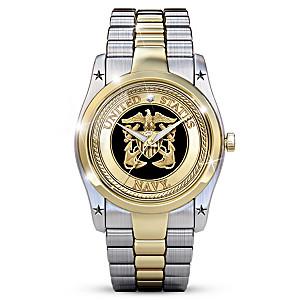 Navy Men's Dress Watch With A Diamond