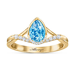 """""""Always With You"""" Genuine Topaz Remembrance Ring"""