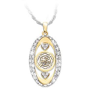 """My Firefighting Hero"" Swarovski Crystal Pendant Necklace"