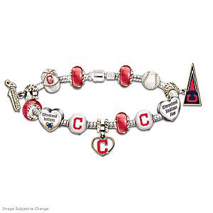 Cleveland Indians Charm Bracelet With Swarovski Crystal