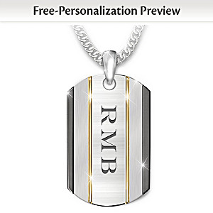 """The Strength Of My Grandson"" Dog Tag Necklace With Initials"