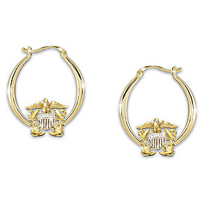 """Navy Pride"" Women's Engraved Earrings With Sculpted Emblem"