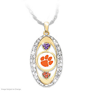 18k gold plated clemson tigers pride swarovski crystal hearts clemson tigers pride pendant necklace with swarovski crystals aloadofball Images