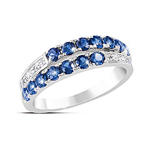 """Symphony"" Sapphire And Diamond Solid Sterling Silver Ring"
