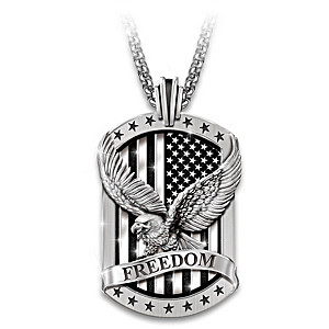 """Freedom's Reign"" Men's Patriotic Dog Tag Pendant Necklace"