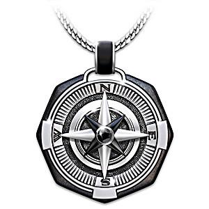 """Wherever You Go My Son"" Compass Pendant Necklace"